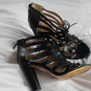 Torrid black lace up heels with zipper back